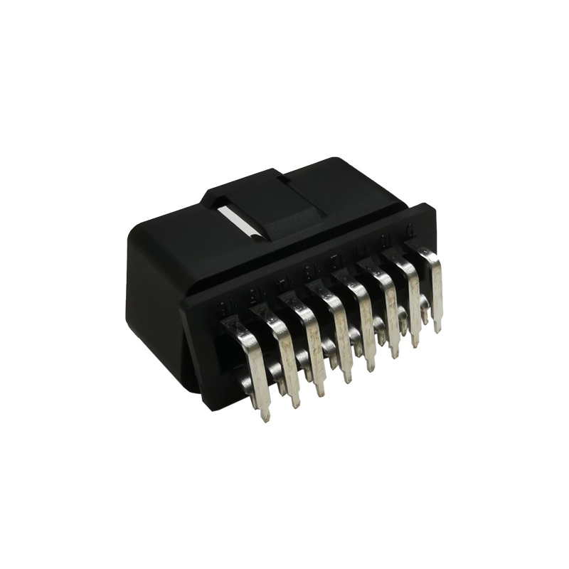 Right Angle Nickel Plated OBDII 16 Pin Male Connector ST SOM013A D